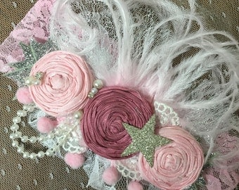 Dusty Rose Rosette headband