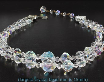 Vintage Estate 50's Double Strand Beaded Crystal Choker Necklace with Aurora Borealis Crystals, Fits a 14.5 Neck