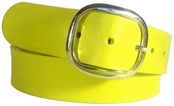 Yellow Leather Belt - Handmade in USA