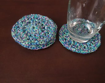 Crochet Blue Green Purple and White Coasters Set of 4 Home Accessories