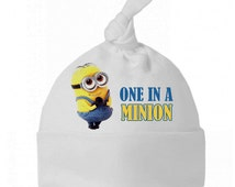 New Cute One In A Minion Funny Baby Clothes Cotton Knotted Hat One Size