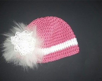 Handmade  Beanie hat with alpaca fur and embellishment womens girls pink