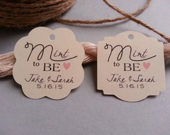 25 Mint to Be Favor Tags, Mint to Be Tags, Wedding Mint Favor Tags