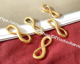 100 antique gold 24mmx8mm Number 8 word charm links--3 colors for you choose