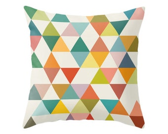 Mid century geometric pillow mid century cushion geometric throw pillow retro geometric pillow multi colored triangles throw pillow