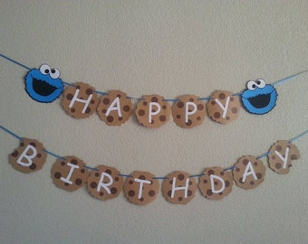 Cookie Monster Happy Birthday Banner or Its a Boy or Its a Girl, can be perzonalized with Name and Age. Free Shipping USA