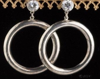 1970s silver plated and crystal hoop earrings. (ervn925)