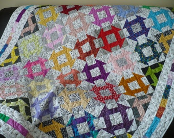 Colorful Scrappy Quilt/twin bed quilt/large lap quilt/Churn Dash quilt/Batik quilt/modern bright throw/colourful  blanket quilt/