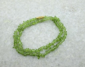 Uncut Peridot Beads Necklace, Semi Precious Gemstone Necklace