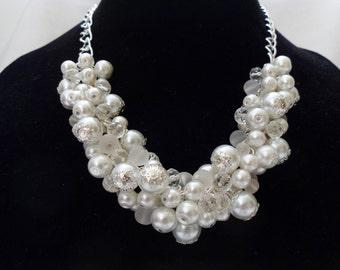 White Pearl Cluster Necklace on Silver Chain, Bridal Necklace, Wedding Pearls, White Pearl and Crystal Cluster Necklace