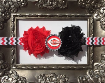 MLB Cincinnati Reds inspired headband!  CincinnatiReds Baby Headband!  Cincinnati Reds Girl Headband!