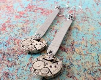 Steampunk Round Earrings, Round Earrings, Steampunk Earrings, Watch Band Earrings, Watch Band, Watch Movement, Silver Earrings, Jewelry