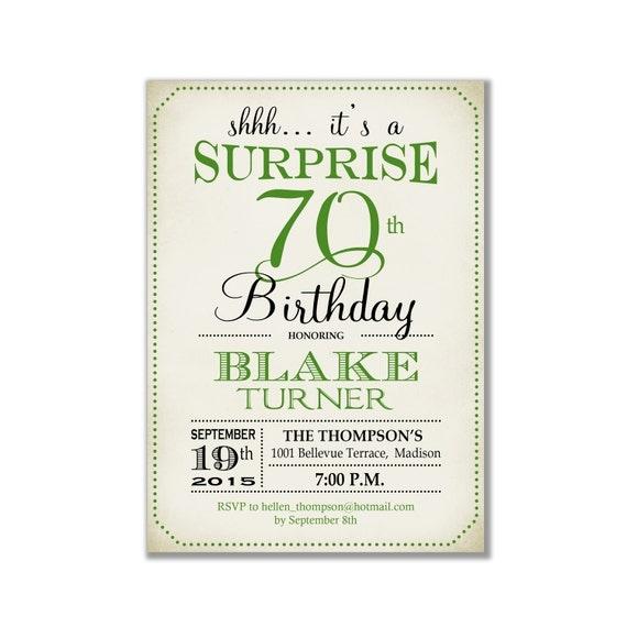 Surprise 70th Birthday Invitation Any Age Green Retro