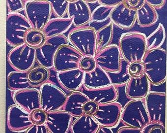 Purple Bliss Flower Painting