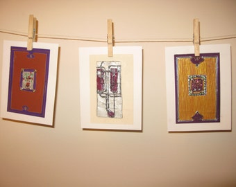 A set of Three Original Gouache Paintings, Inspired by Art Deco.