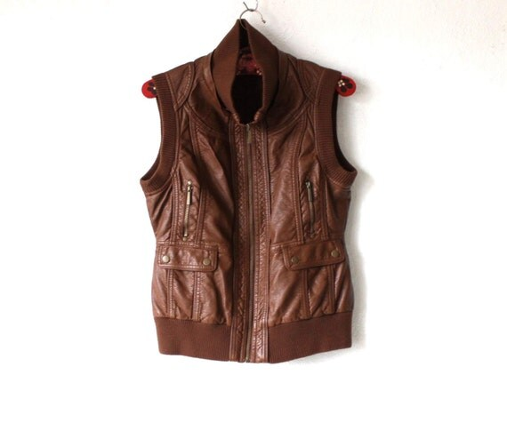Women'S Sexy Brown Leather Vest 2