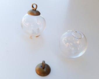 Glass Viole glass globe hollow Pearl - 2 sets