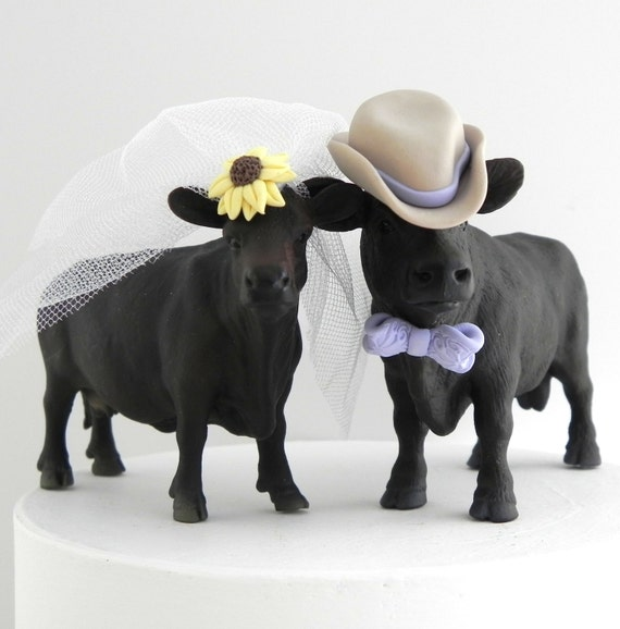 Angus cow wedding cake topper for rustic country by