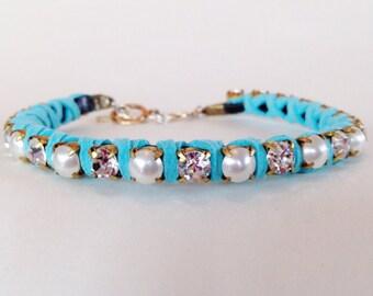Rhinestone Pearl Aqua Suede Handcrafted Pet Necklace