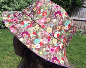 Handmade bucket hat, 100 per cent cotton. 1-2y, flowery hat