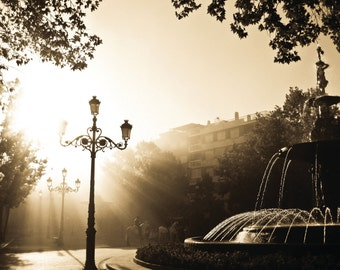 Autumn Leaves on an Andalusian Afternoon - Granada, Andalusia, Spain, Street, Fountain, Photography Print 12x8