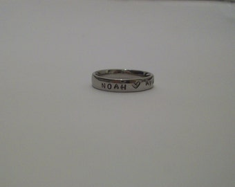 Handstamped Ring, Stainless Steel Ring, Name Ring, Kids Name Ring, Steel Ring, Stamped Ring, Family Ring, Customized Ring, Ring, Customized