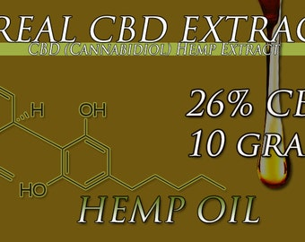 60 Grams of CBD Oil Extracted From Organic Hemp 26% CBD Oil and Other Cannabinoids Extracted From Organically Grown Top Strains