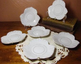 Set of Six (6) Small Vintage Leaf-Shaped Plates