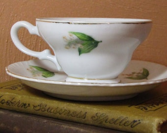 Vintage Hinode Teacup and Saucer - Lily of the Vally Pattern