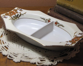 Vintage Noritake Hand Painted Divided Serving Dish