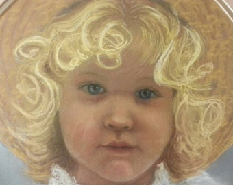 Artist signed original art pastel portrait drawing cute little blonde girl child
