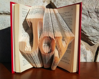 Joy - Folded Book Art -Fully Customizable, Joyful, happiness, happy, eternal, life