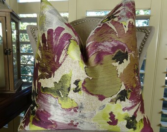 Berry Floral Throw Pillow Cover - Berry Fuchsia Citrine Yellow Ivory Grey Floral Throw Pillow - Modern Berry Floral Designer Pillow - 11371