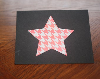 Star Black - Houndstooth Red - Greeting Card