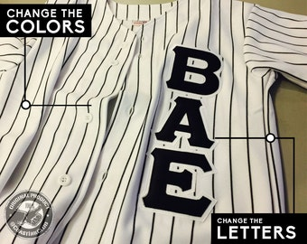 Custom Pinstripe Baseball Jersey with Pro-Stitch Letters, Back Name & Back Number