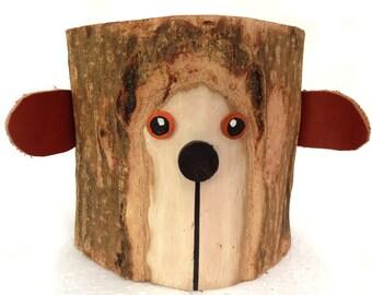 Bear Pencil Holder Office Organizer Rustic Pencil Holder Bark Wood Pencil Cup Wood Holder Log Holder Rustic Office Decor Tree Bark Crafts