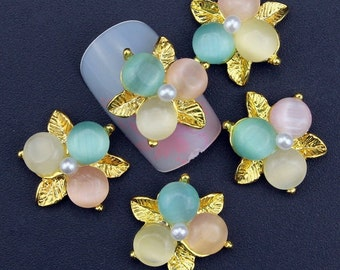 10Pcs Luxury Gold Leaf Pink Blue Beads Nail Tools Rhinestones For Nails Alloy Glitters DIY 3D Nail Art Decorations