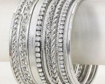 Crystal Accented Stack Bracelet