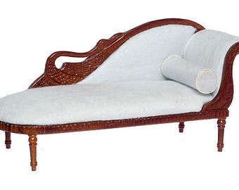 112 Scale Miniature Bespaq Walnut Swan Fainting Couch  sc 1 st  Etsy : fainting chaise - Sectionals, Sofas & Couches