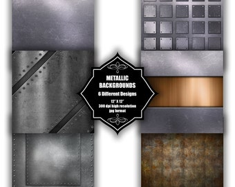 INSTANT DOWNLOAD - Collection of digital metallic effect backgrounds with 6 different designs