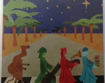 The Beatles Abbey Road Square Christmas Greeting Card