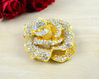Fabia's Naturalistic Rose Gold Rhinestone Brooch Doused in Delicate and Fine Rhinestones with Pin backing