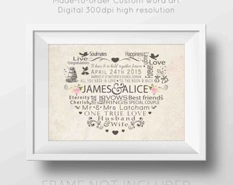 Custom Wedding Gift, Mr and Mrs, Wedding Gift,  Print, PRINTABLE Digital Download, Vintage, Boho, Rustic, Word Art, Gift for Couples