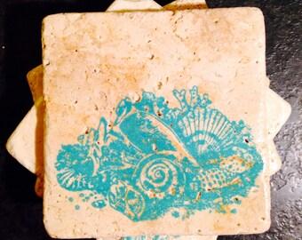 Seashell Coasters ~ Set of 4 Stone Coasters