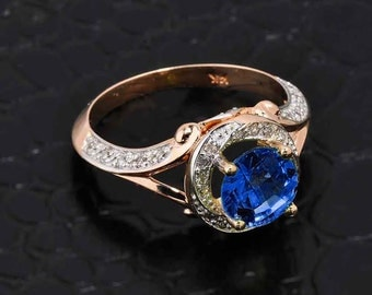 Blue Sapphire Ring, Rose Gold Diamond Blue Sapphire Halo Engagement Ring, CZ Blue Sapphire Ring, Rose Gold Pave Diamond Ring, Halo Ring