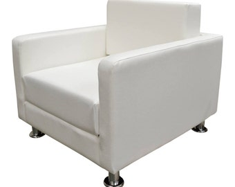 A Urban Retro Chair Upholstered in Premium White Faux Leather With Metal Legs