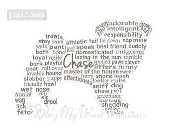 Pug Dog Art, Pet Art, Pug Dog Word Art, Dog Art, Pet Keepsake, Dog Keepsake, Personalized Word Art Typography, PRINTABLE DIGITAL FILE