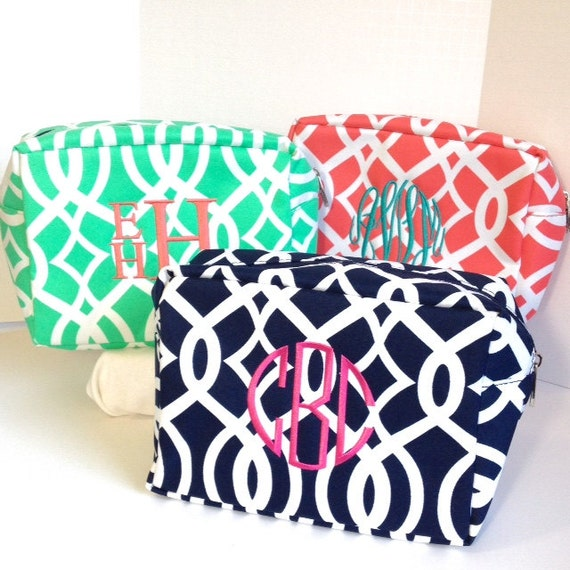 Set of Two Monogrammed Makeup Bags, Mint, Navy or Coral, Personalized Cosmetic Bag, Makeup Pouches, Bridesmaids Gifts, Bridal Shower Gifts