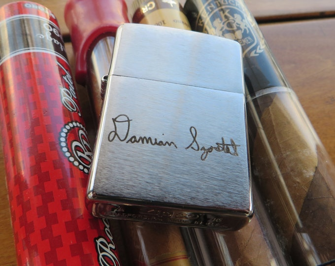 Signature Chrome Zippo Your Handwriting Laser Engraved Bridesmaid Gift Personalized Birthday Military Deployment