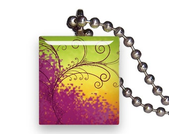 Gradient Swirls Wind Flourish - Reclaimed Scrabble Tile Pendant Necklace